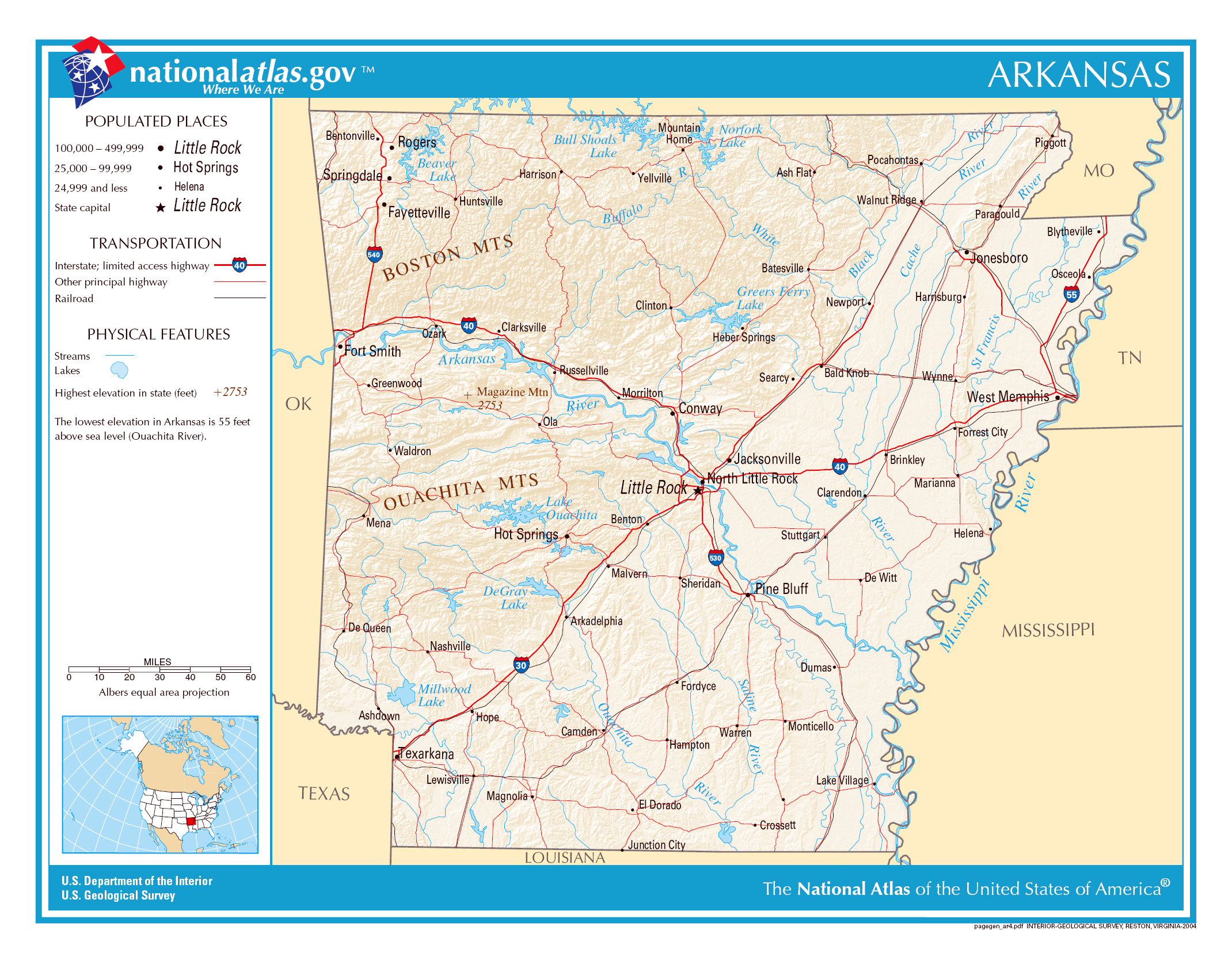 Large Detailed Map Of Arkansas State Arkansas State USA Maps - United states map arkansas