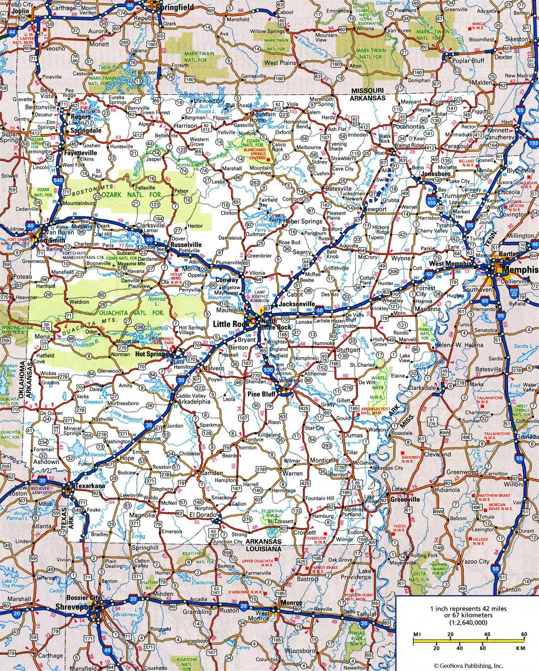 Large detailed roads and highways map of Arkansas state with all cities and national parks