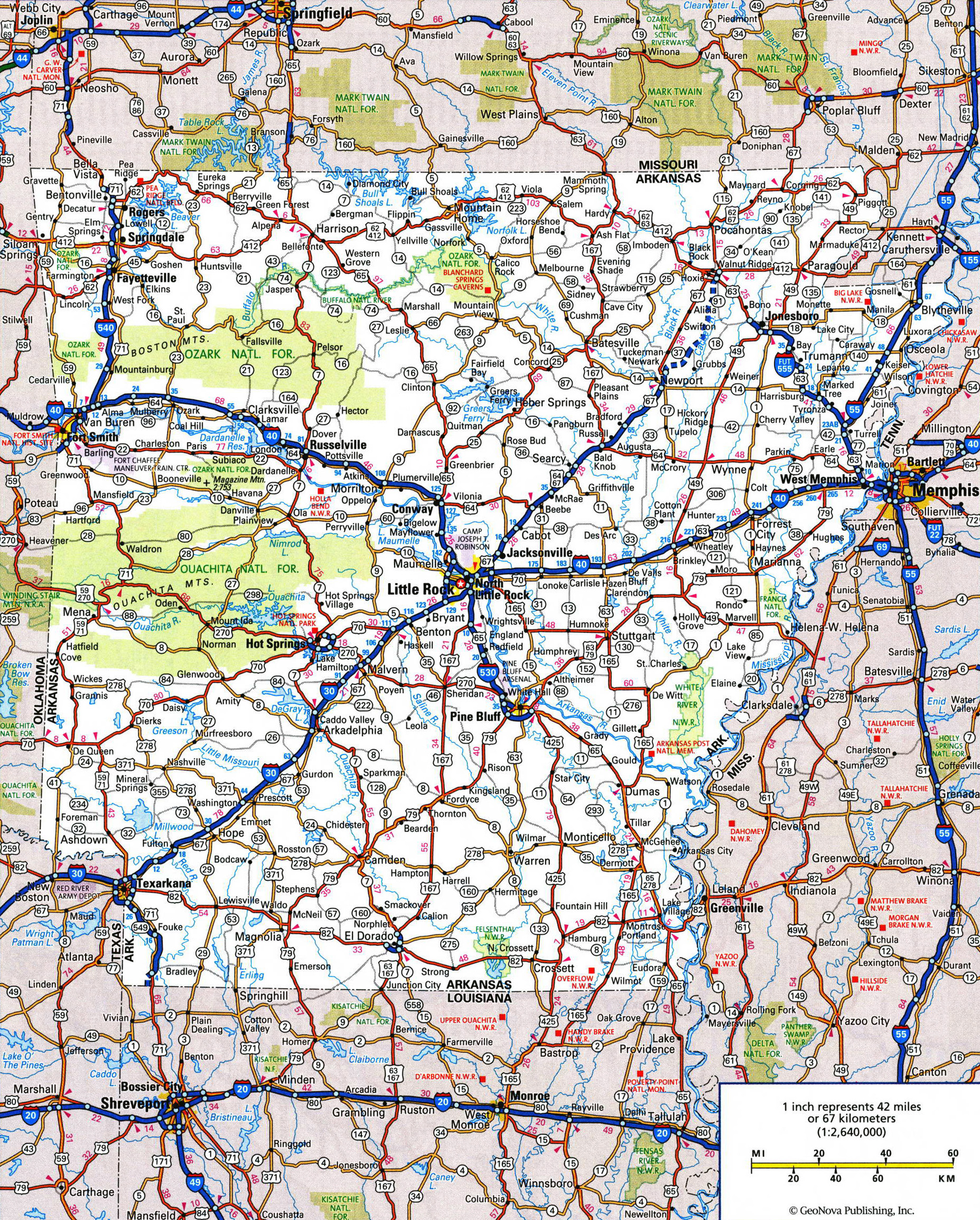 Large detailed roads and highways map of Arkansas state with ...