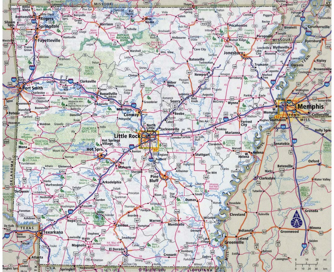 Maps of Arkansas state  Collection of detailed maps of Arkansas