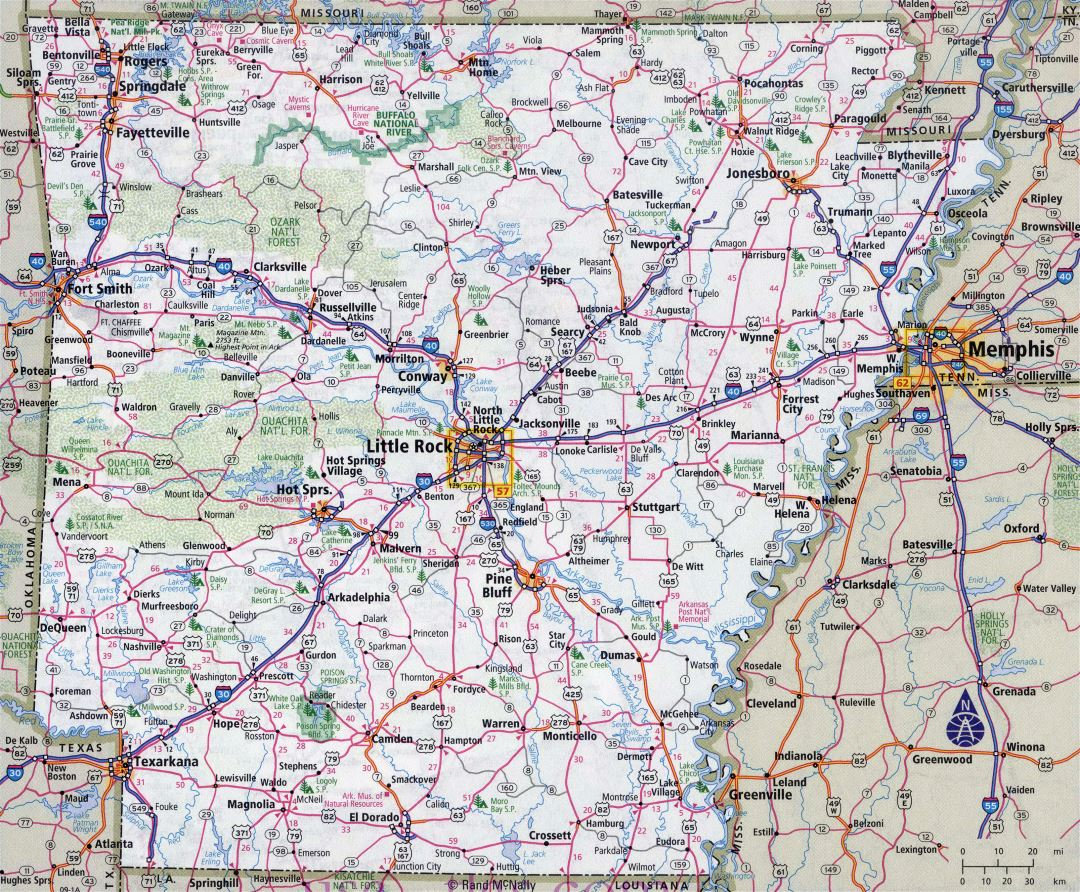 Large detailed roads and highways map of Arkansas state with all cities