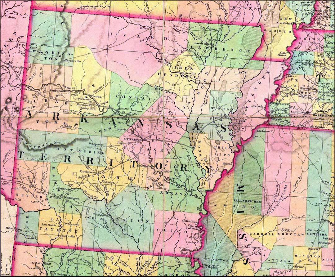Old administrative map of Arkansas state - 1832