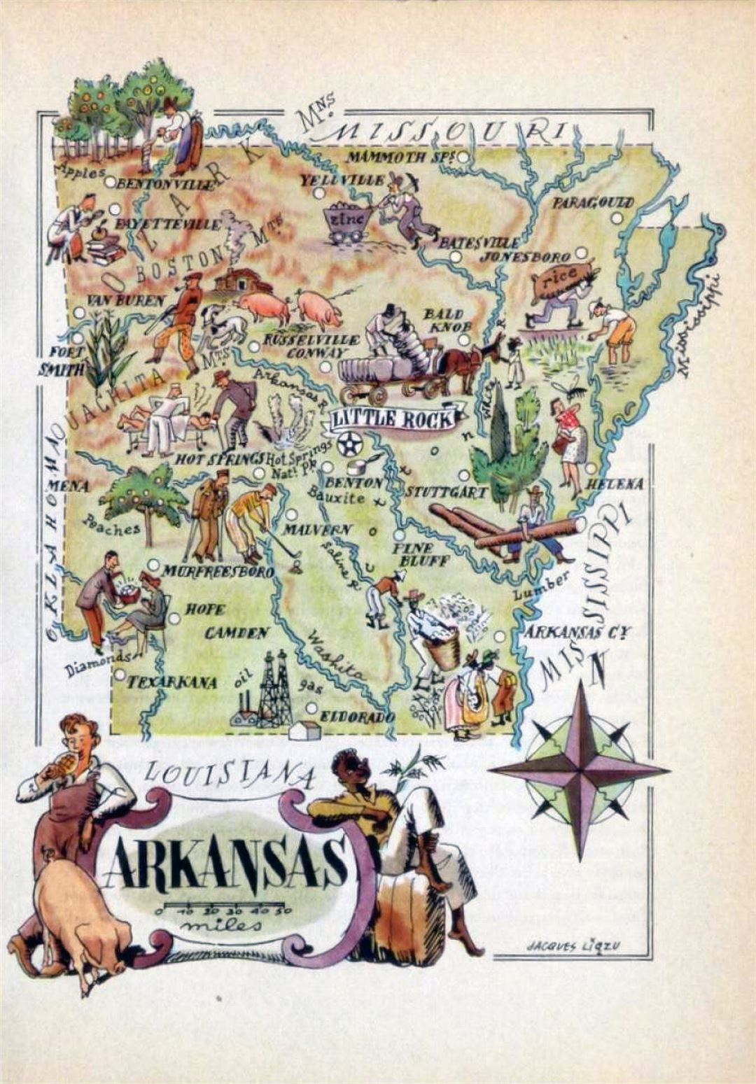 Old illustrated travel map of Arkansas state - 1946