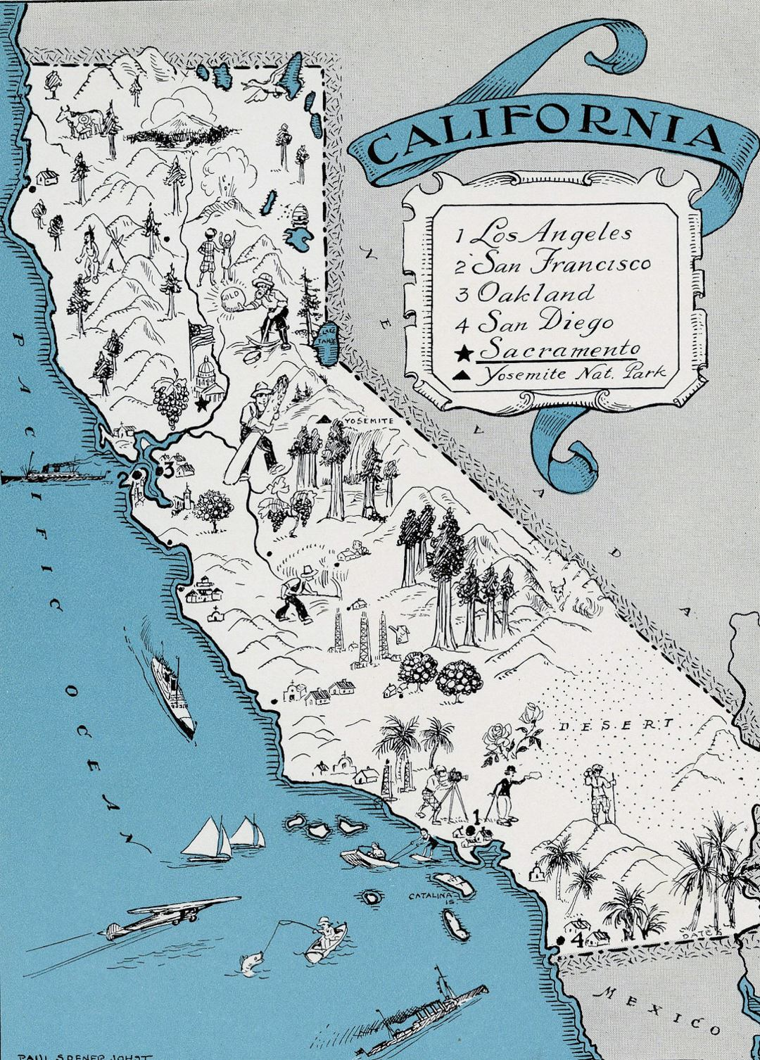 Detailed tourist illustrated map of California state