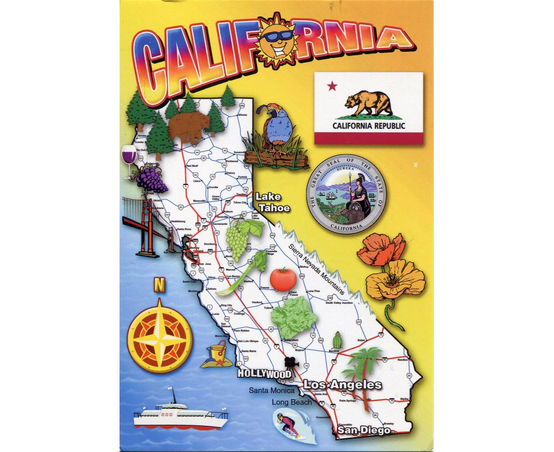 Detailed tourist map of California state