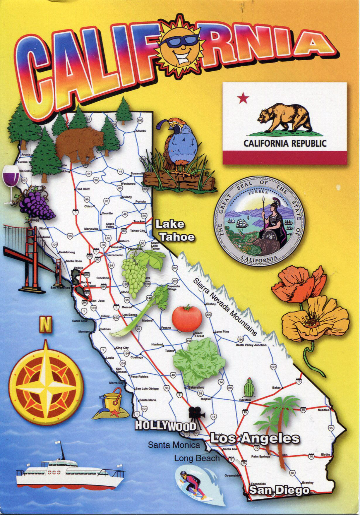 Detailed Tourist Map Of California State California State Usa
