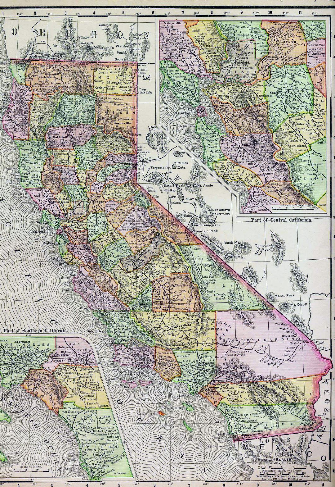 Detaled old administrative map of California state - 1895