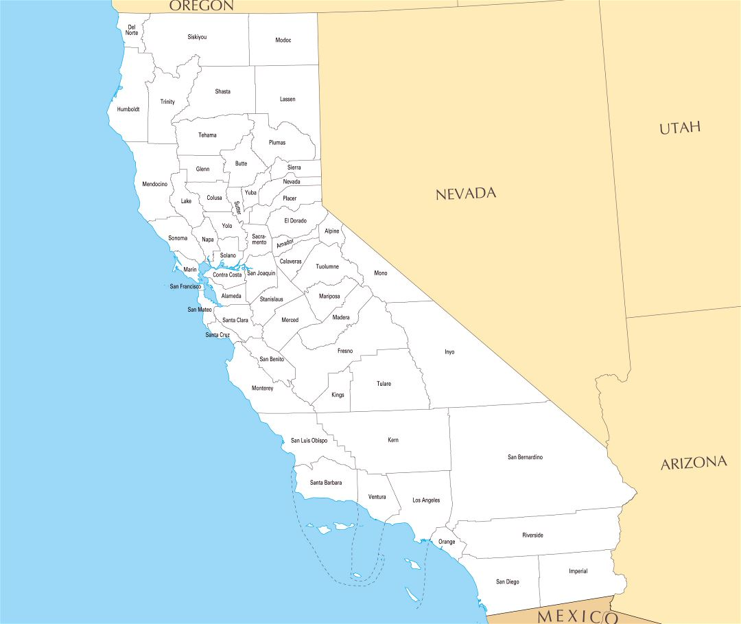 Large administrative map of California state