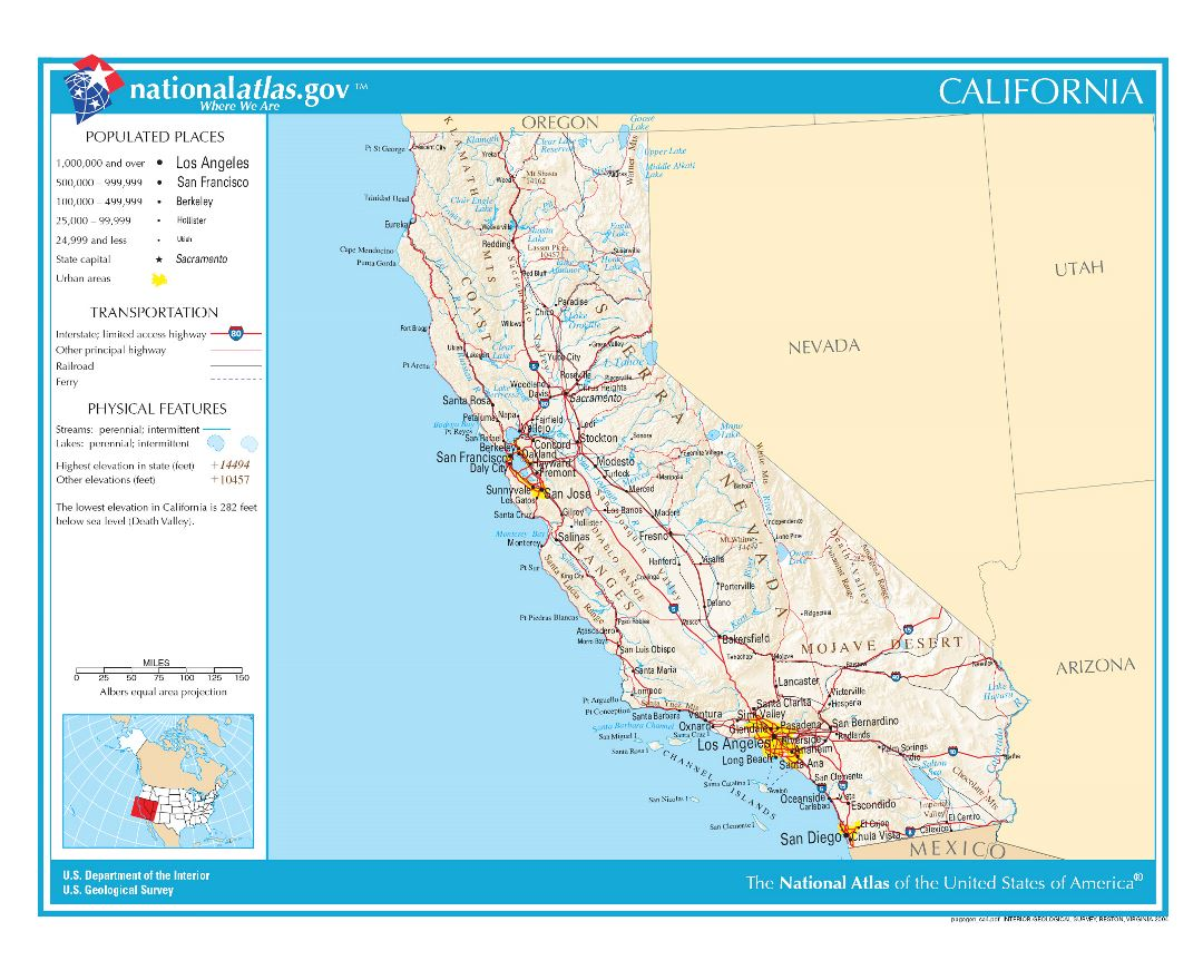 Large detailed map of California state