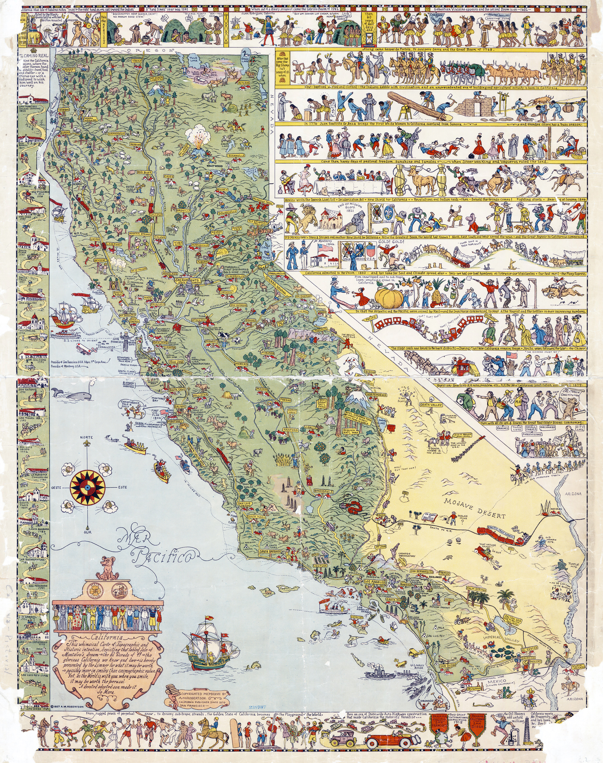 Large Detailed Old Tourist Illustrated Map Of California State - Detailed map of california
