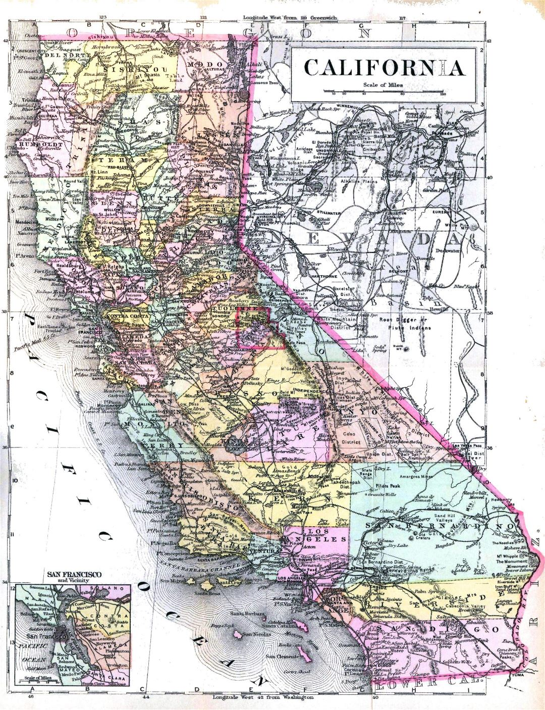 Large detaled old administrative map of California state - 1896