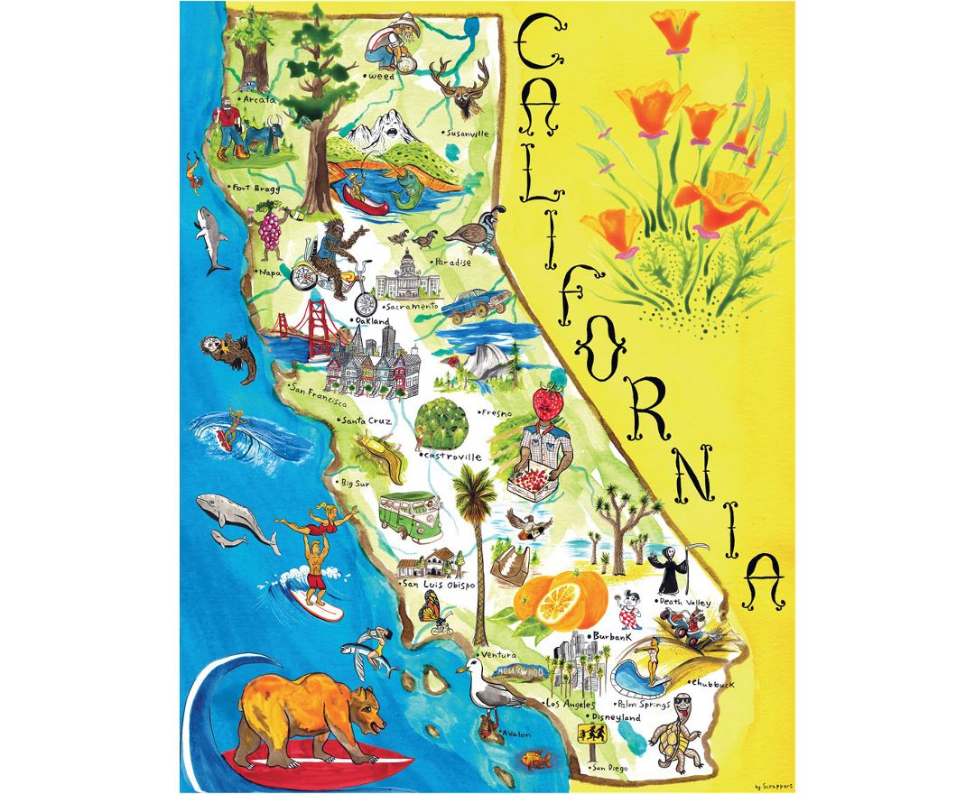 Tourist illustrated map of California state