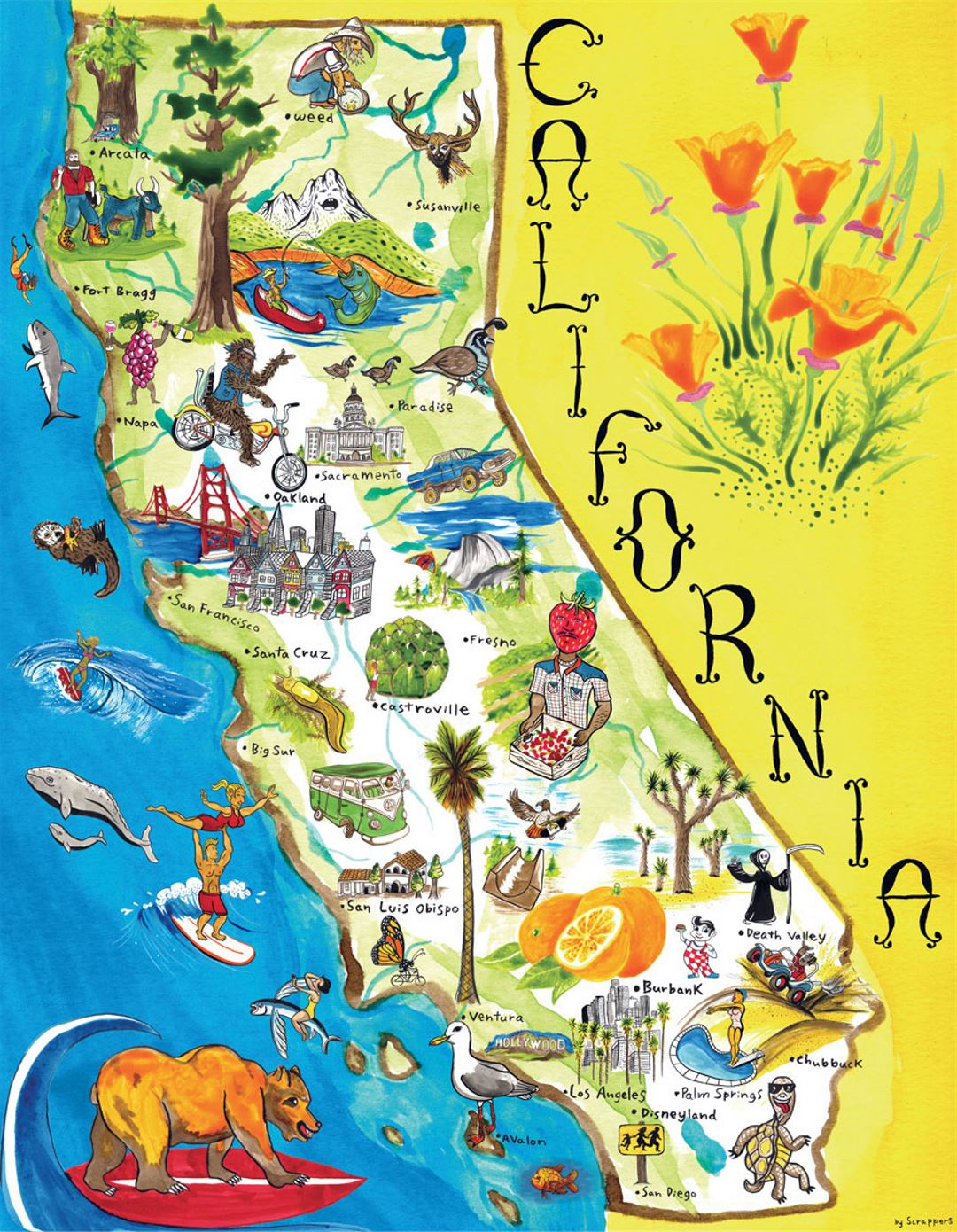 Tourist illustrated map of California state California state USA