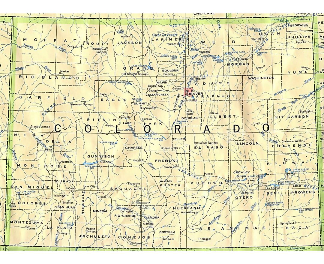 Administrative map of Colorado state