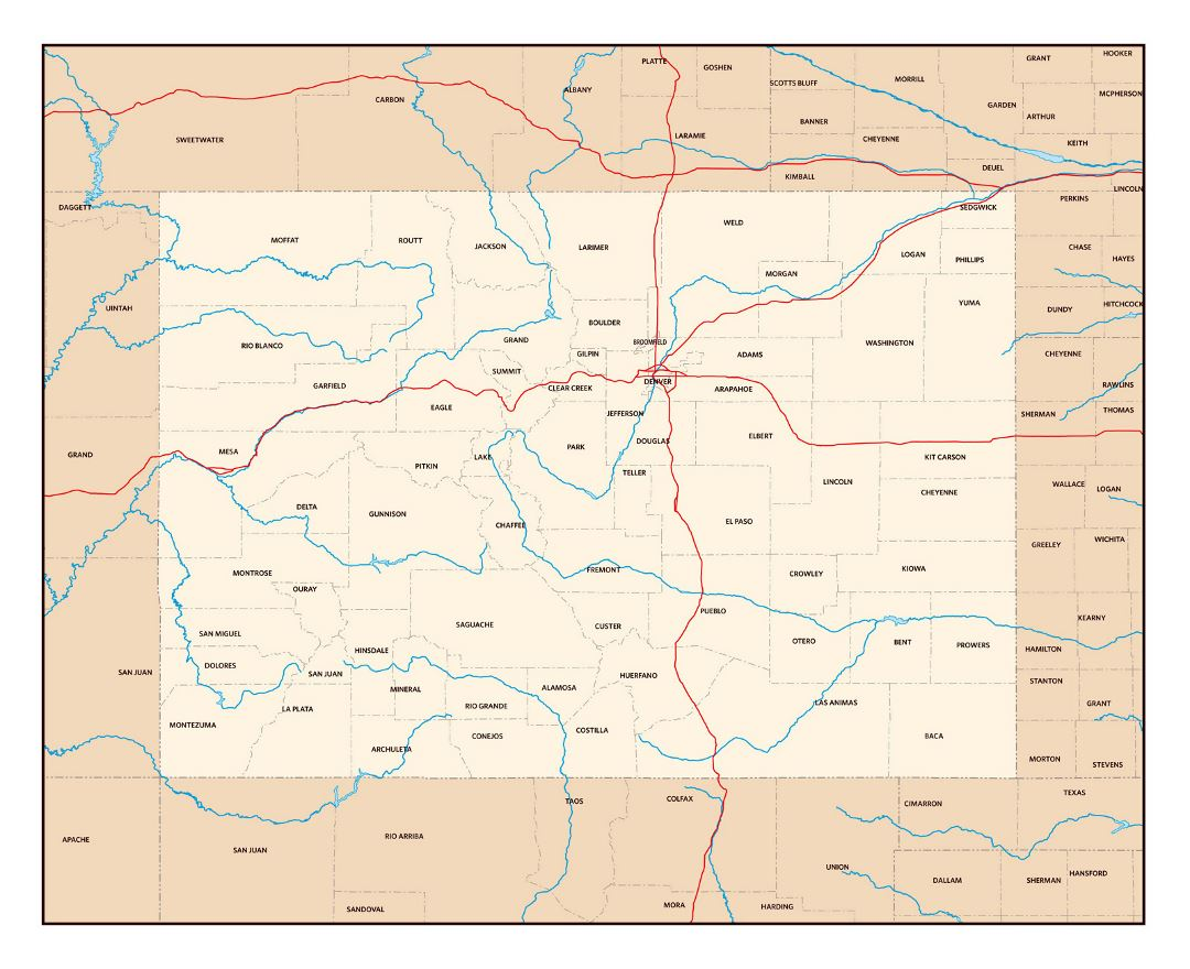 Detailed administrative map of Colorado state