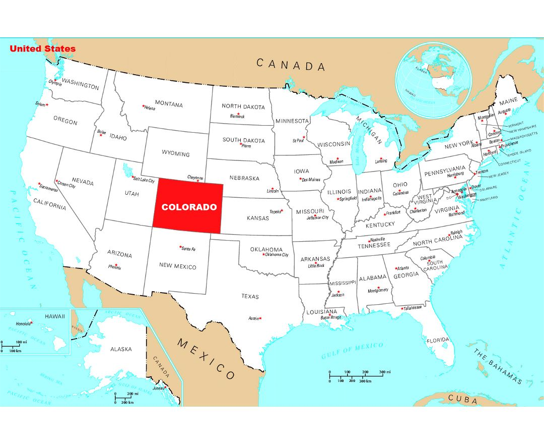 Detailed location map of Colorado state