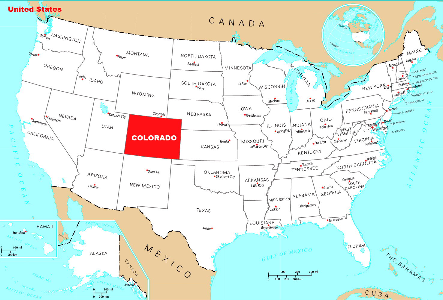 Detailed Location Map Of Colorado State Colorado State USA - Location of atlanta in usa map
