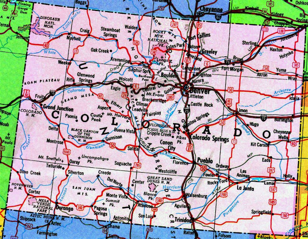 united state map with cities with Highways Map Of Colorado State on South Dakota Location Map as well Where Is Warsaw likewise The Sault likewise Large Detailed Tourist Map Of Florida State besides Usa Canada Mexico Map.