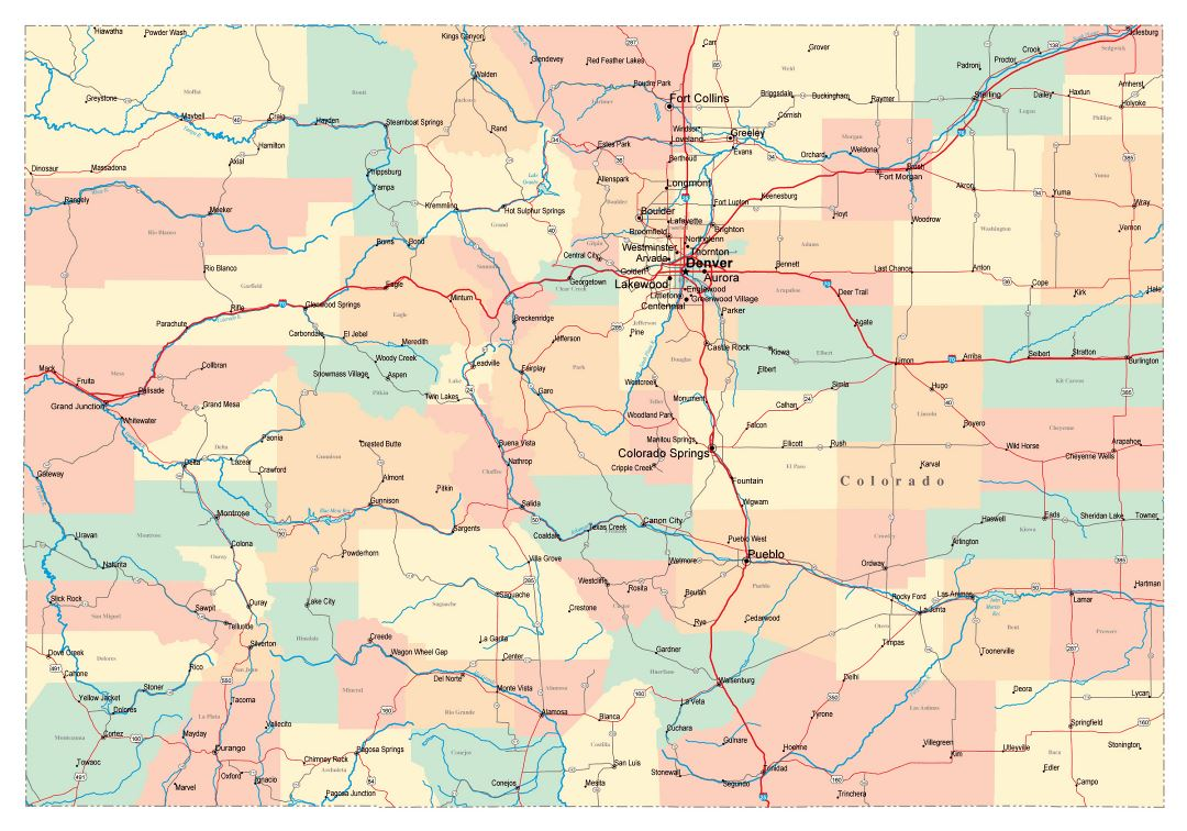 Large administrative map of Colorado state with roads, highways and cities