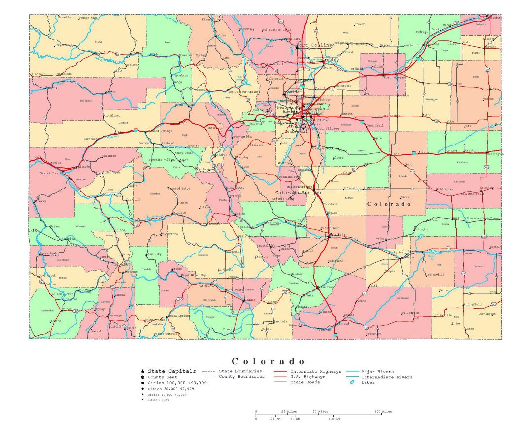 Maps Of Colorado State Collection Of Detailed Maps Of Colorado - Map of usa with states and capitals and major cities