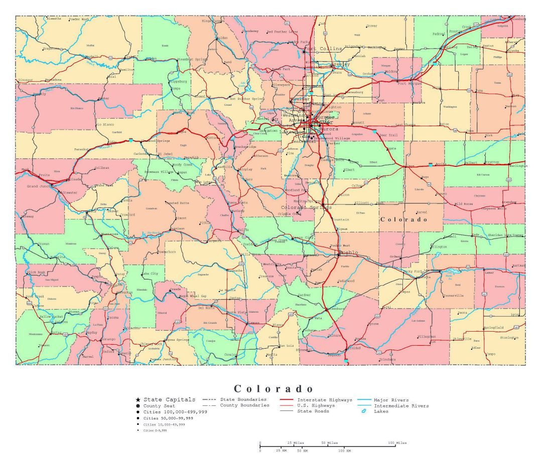 Large detailed administrative map of Colorado state with roads, highways and major cities