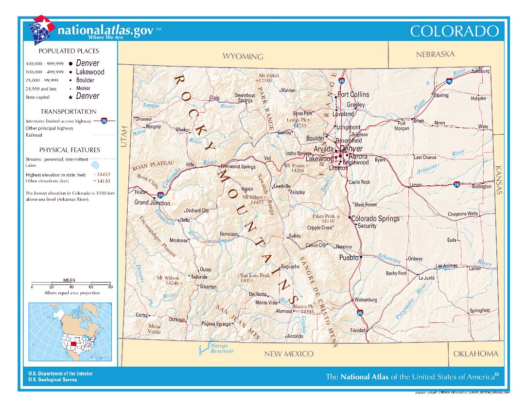 Large detailed map of Colorado state