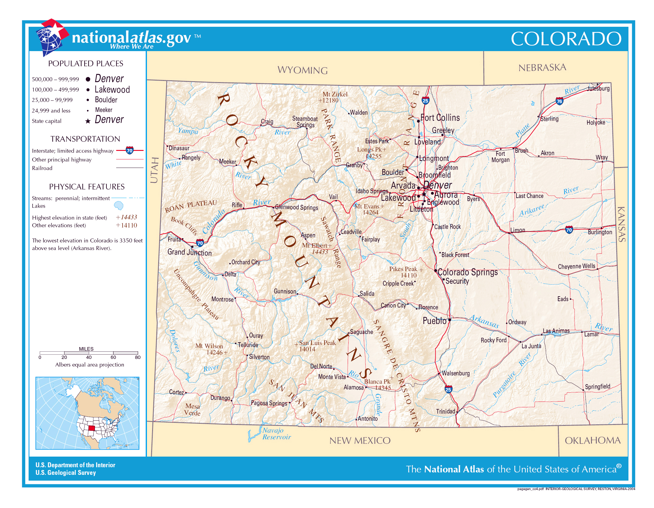 Large detailed map of Colorado state | Colorado state | USA | Maps ...