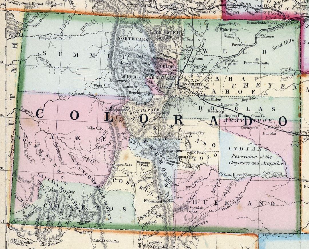 detailed map of colorado with Large Detailed Old Map Of Colorado State 1870 on 29959408 together with Colorado River Map further Snowmobiling Trail Maps Minnesota Dnr besides Idaho Hot Springs Mountain Bike Route in addition High Resolution Maps.