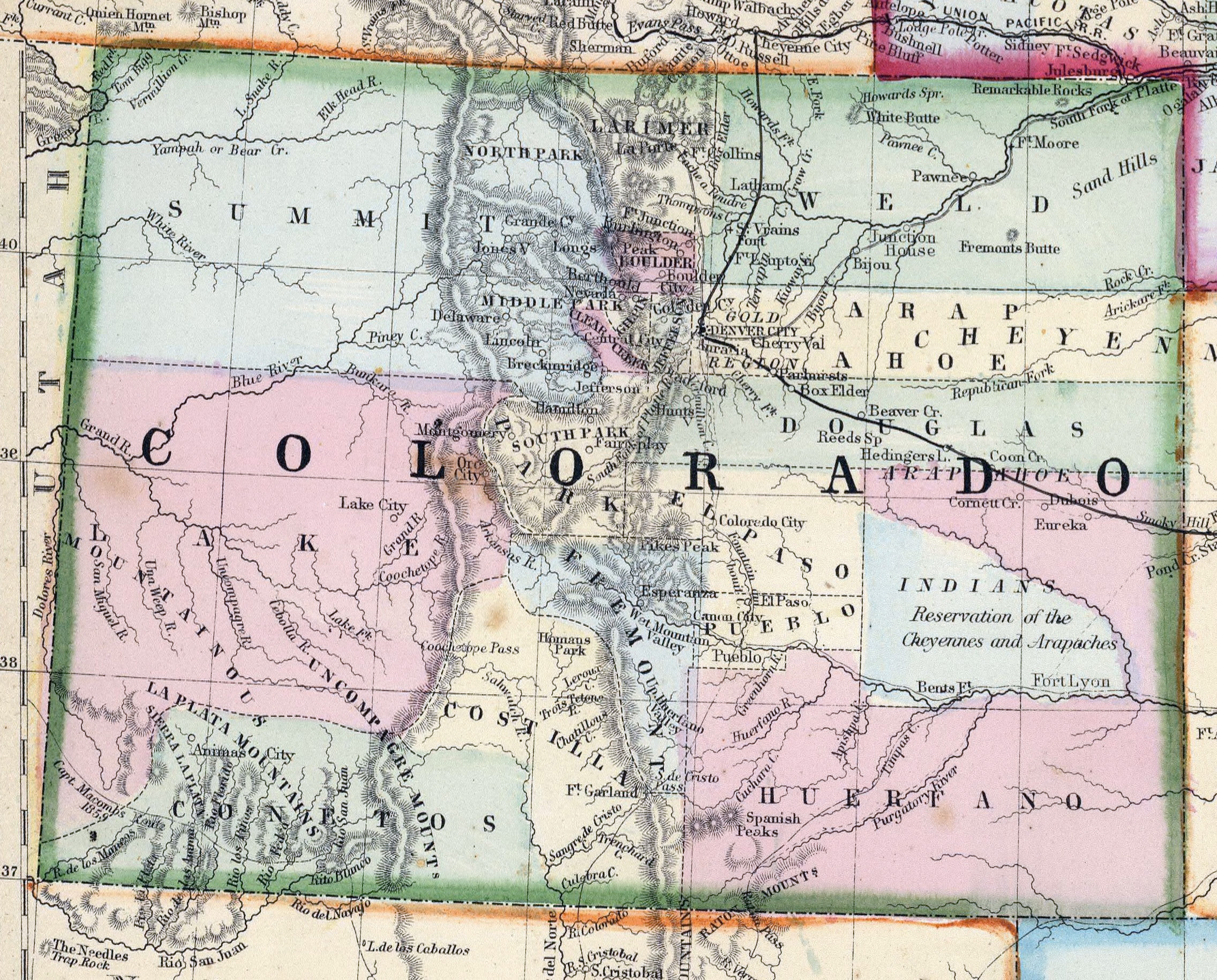 Large detailed old map of Colorado state   1870 | Colorado state
