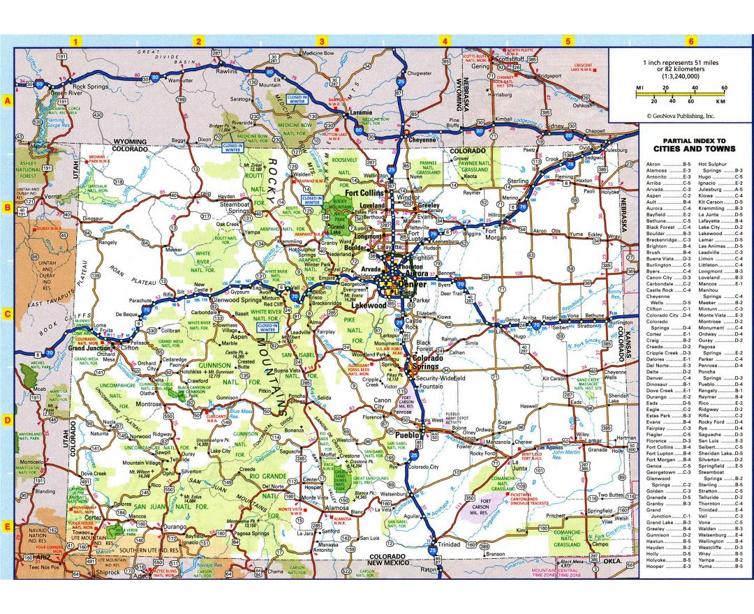 Large detailed roads and highways map of Colorado state with all cities and national parks