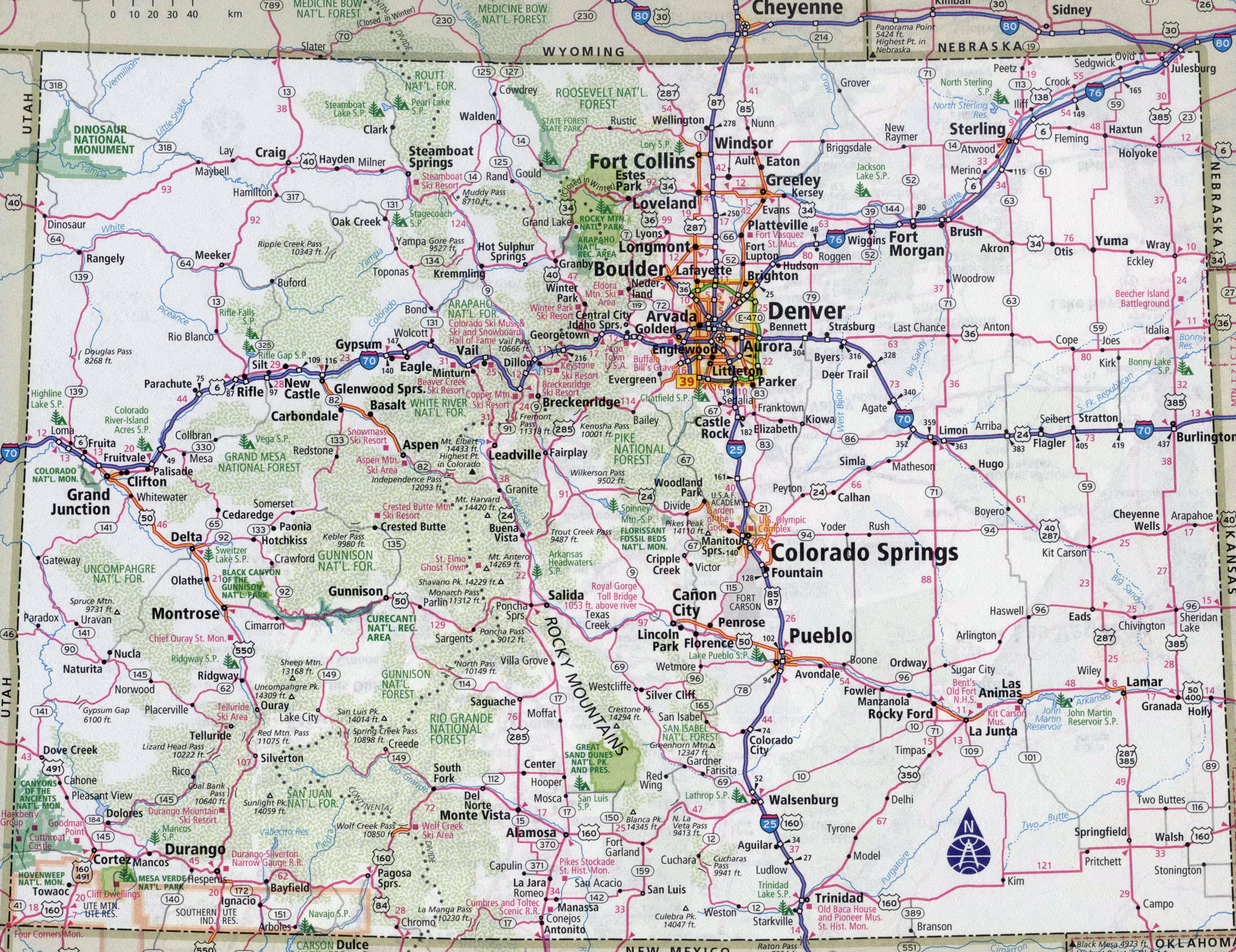 Large Detailed Roads And Highways Map Of Colorado State With All - Detailed usa map with states and cities