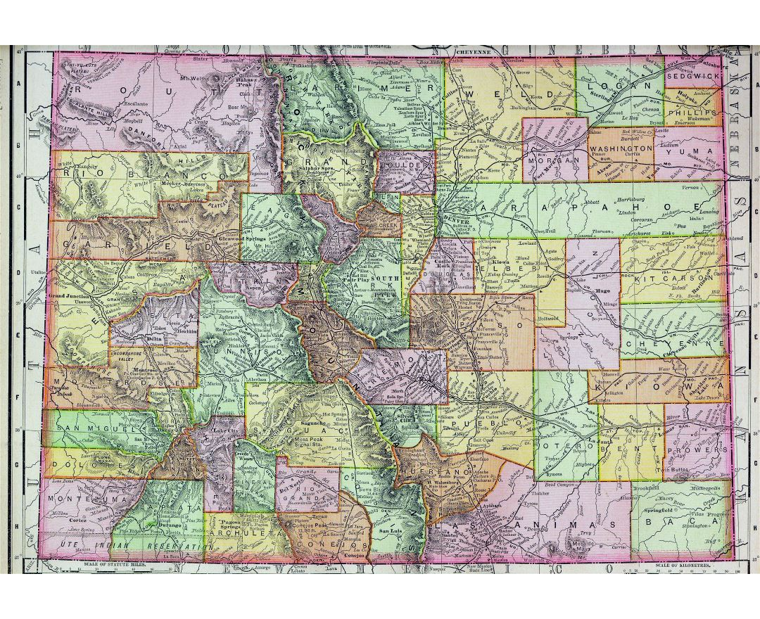 Large old administrative map of Colorado state - 1895