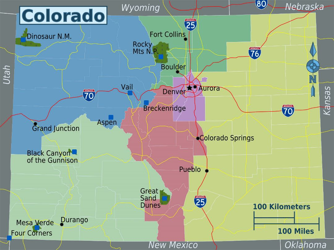 Large regions map of Colorado state