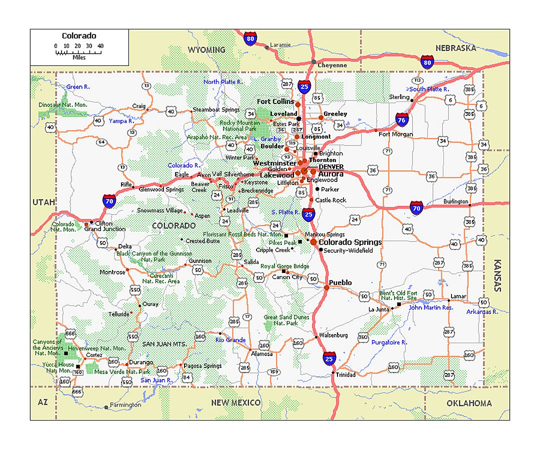 Large roads and highways map of Colorado state