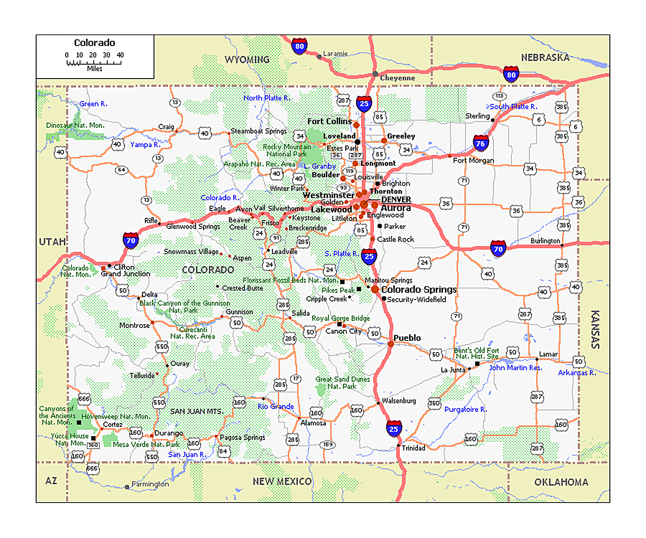 Large roads and highways map of Colorado state | Colorado state
