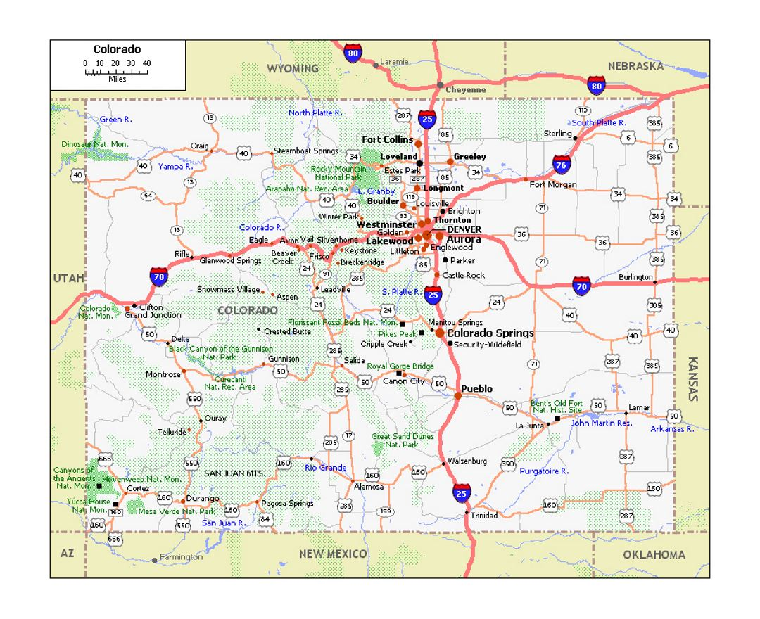 Roads and highways map of Colorado state