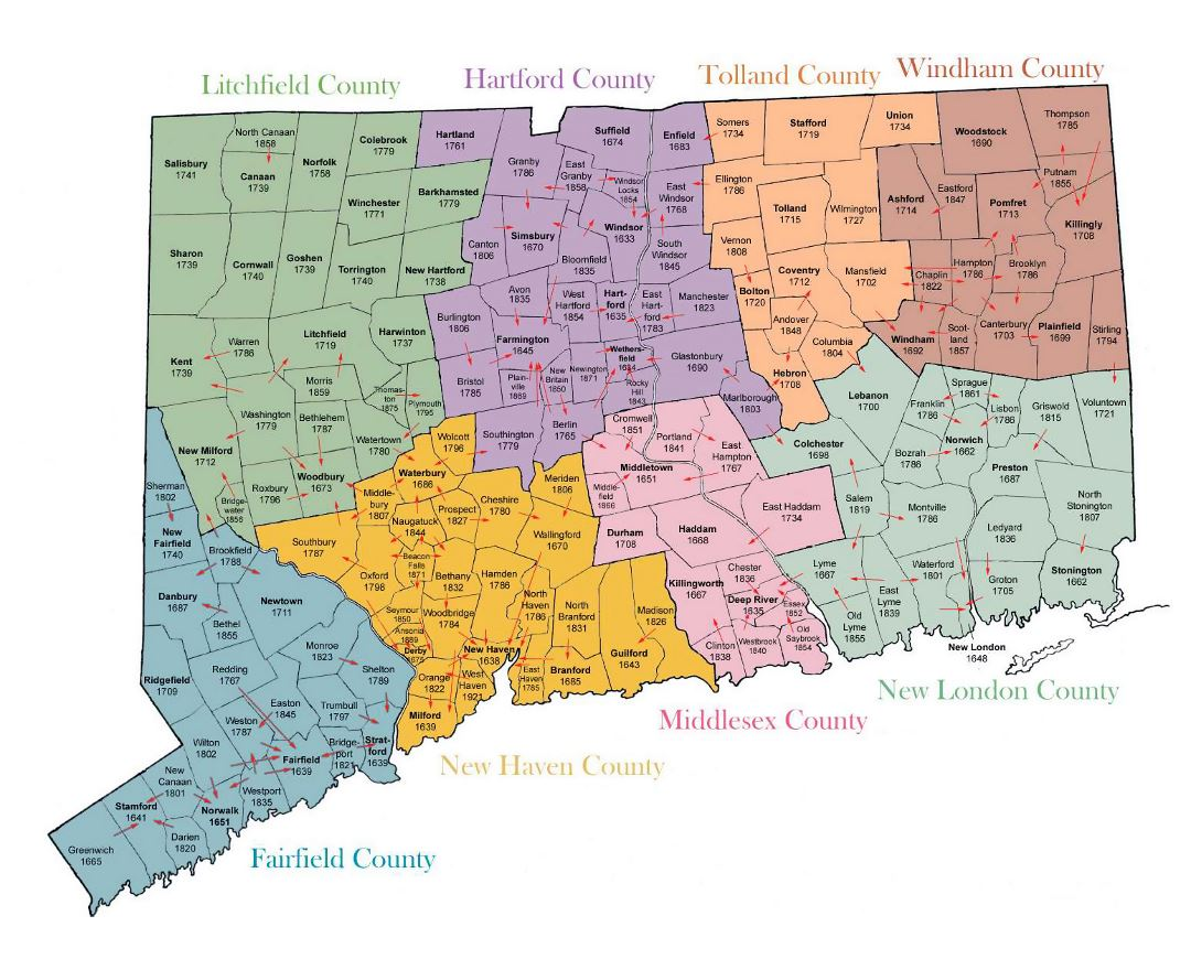 Detailed administrative map of Connecticut