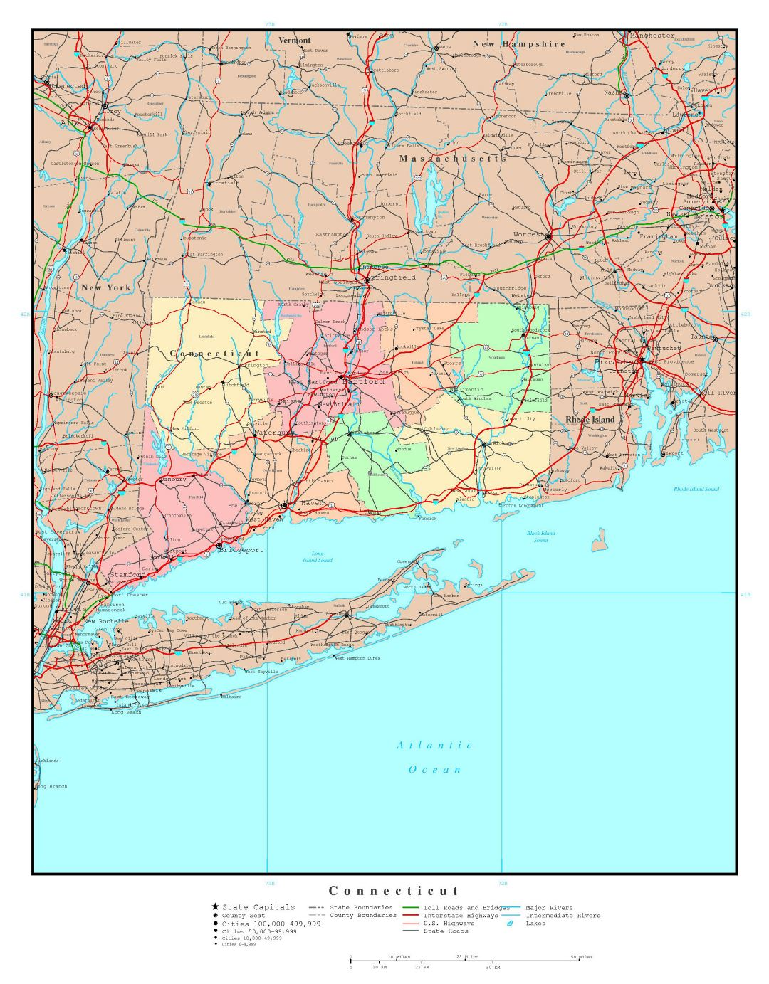 Large administrative map of Connecticut state with roads, highways and major cities