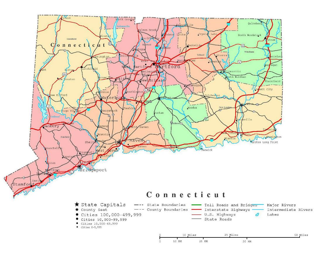 Large detailed administrative map of Connecticut state with roads, highways and cities