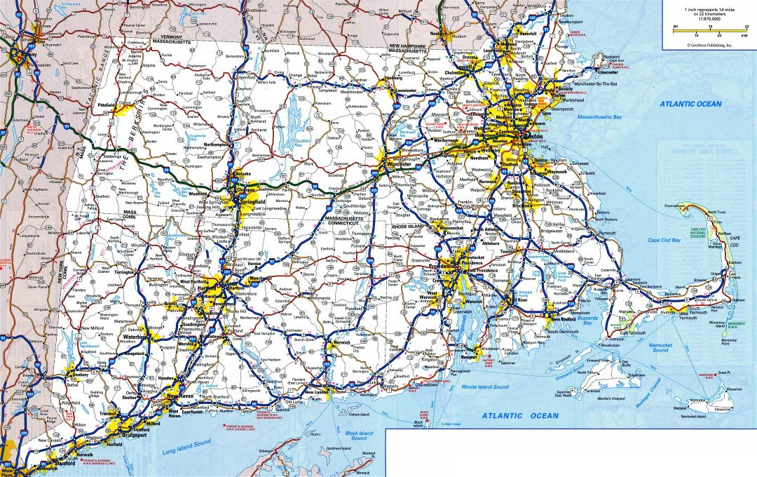 Large detailed roads and highways map of Connecticut, Massachusetts and Rhode Island states with all cities