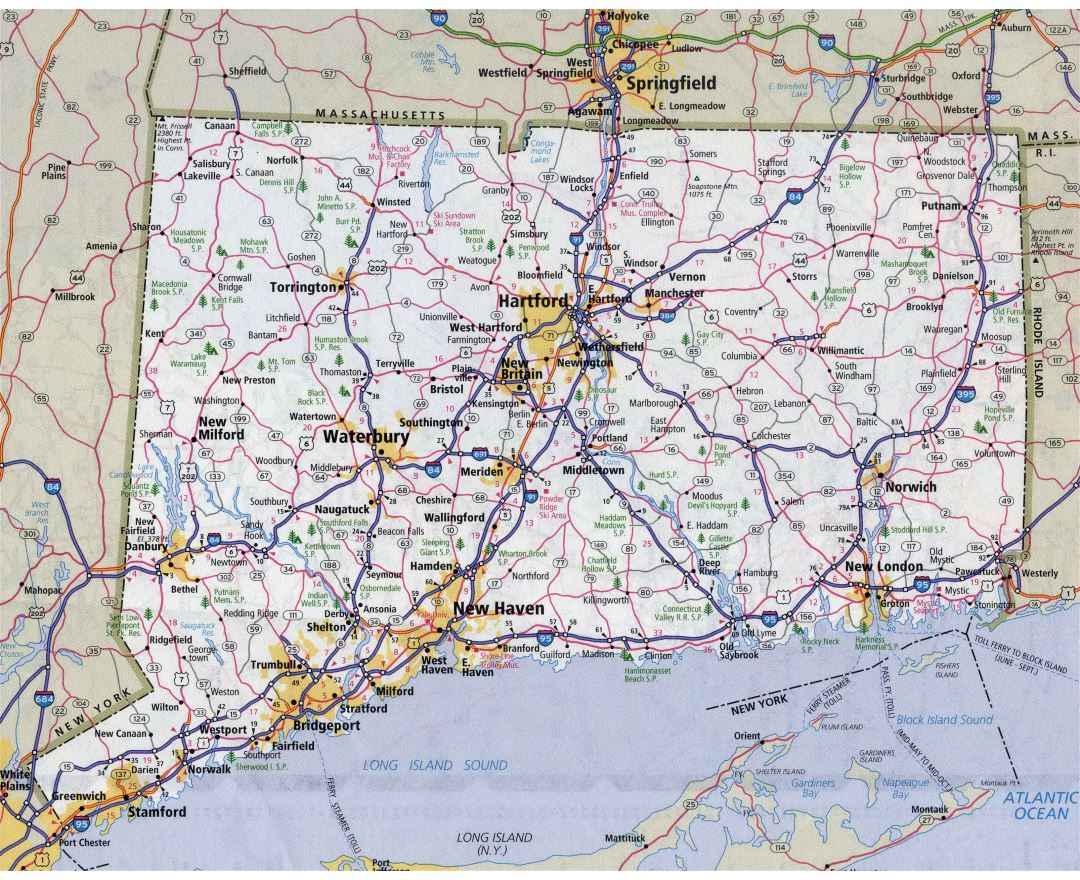 Large detailed roads and highways map of Connecticut state with all cities