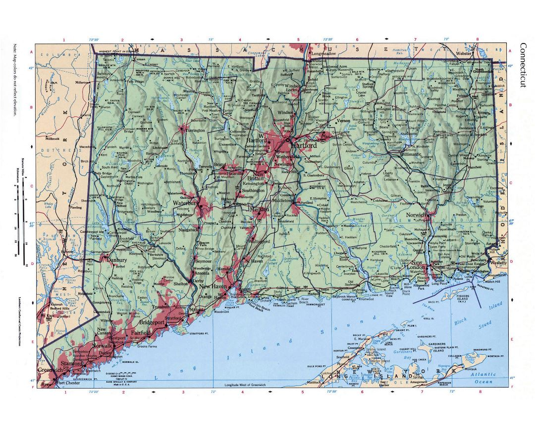 Large detailed roads and highways map of Connecticut state with relief and all cities