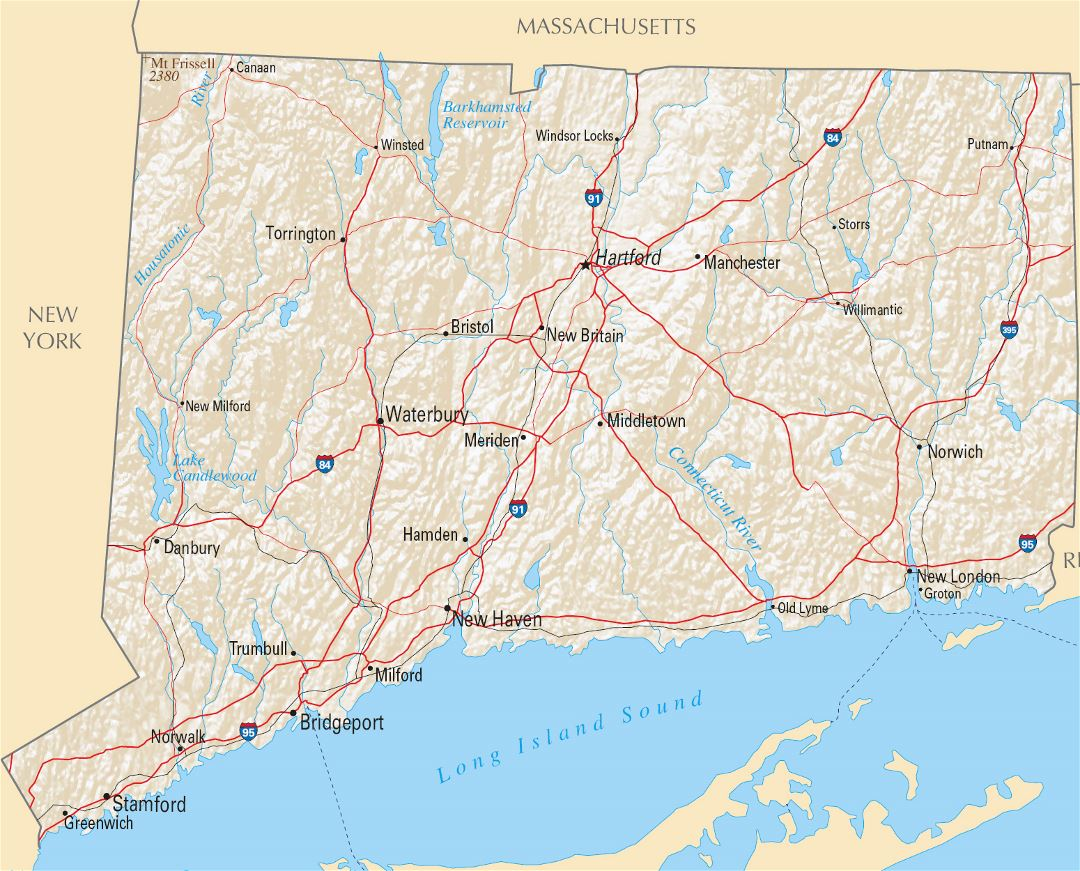 Large highways map of Connecticut state with relief