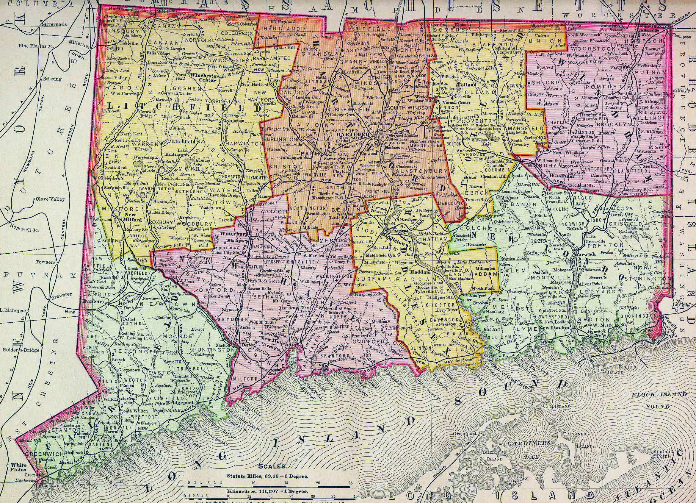 Large old administrative map of Connecticut state with roads ...