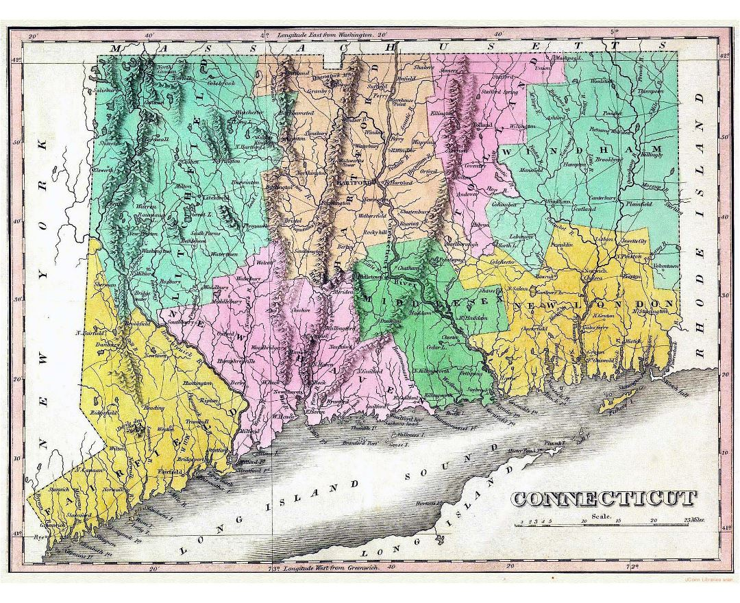 Large old map of Connecticut state with relief, roads and cities - 1824