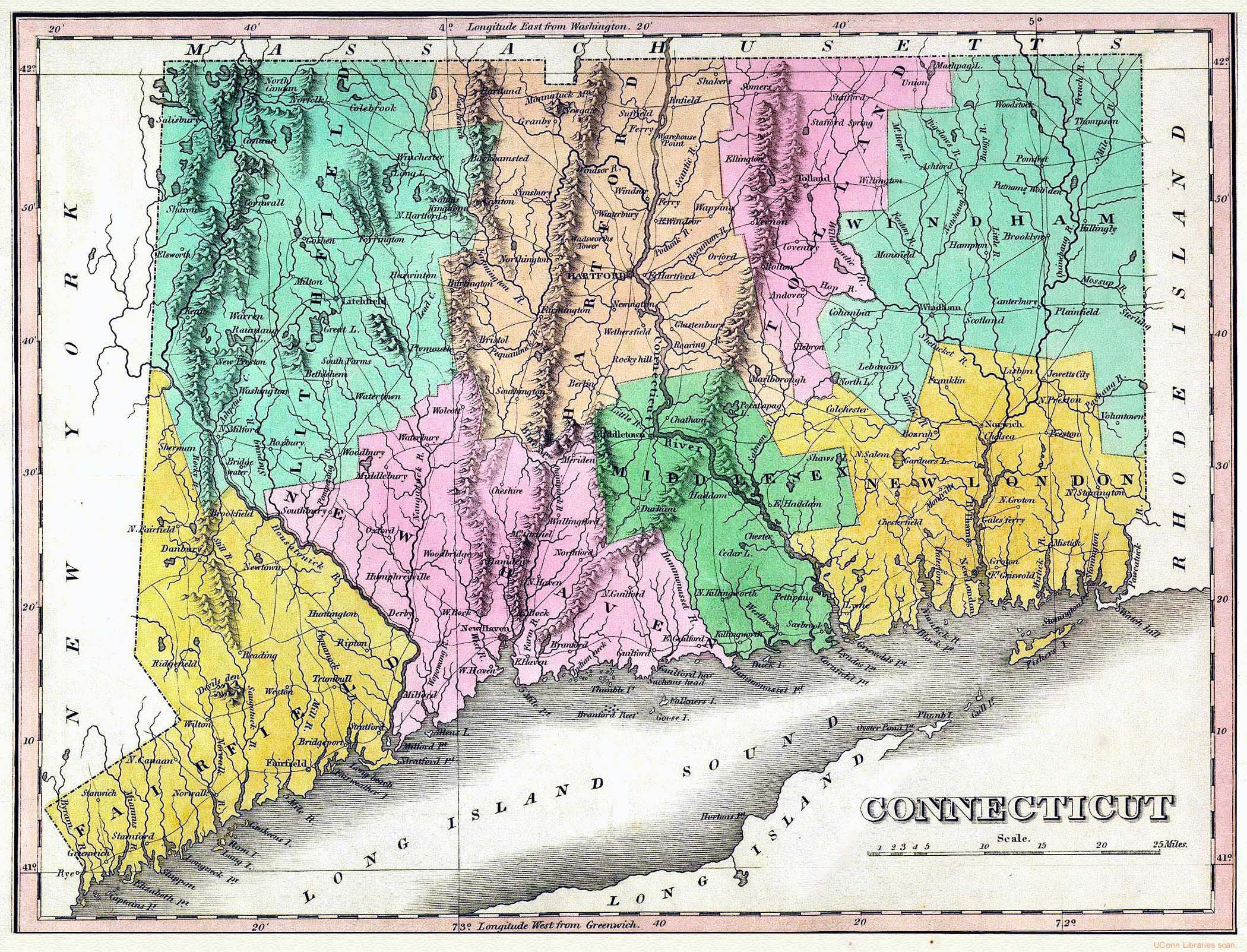Large old map of Connecticut state with relief roads and cities