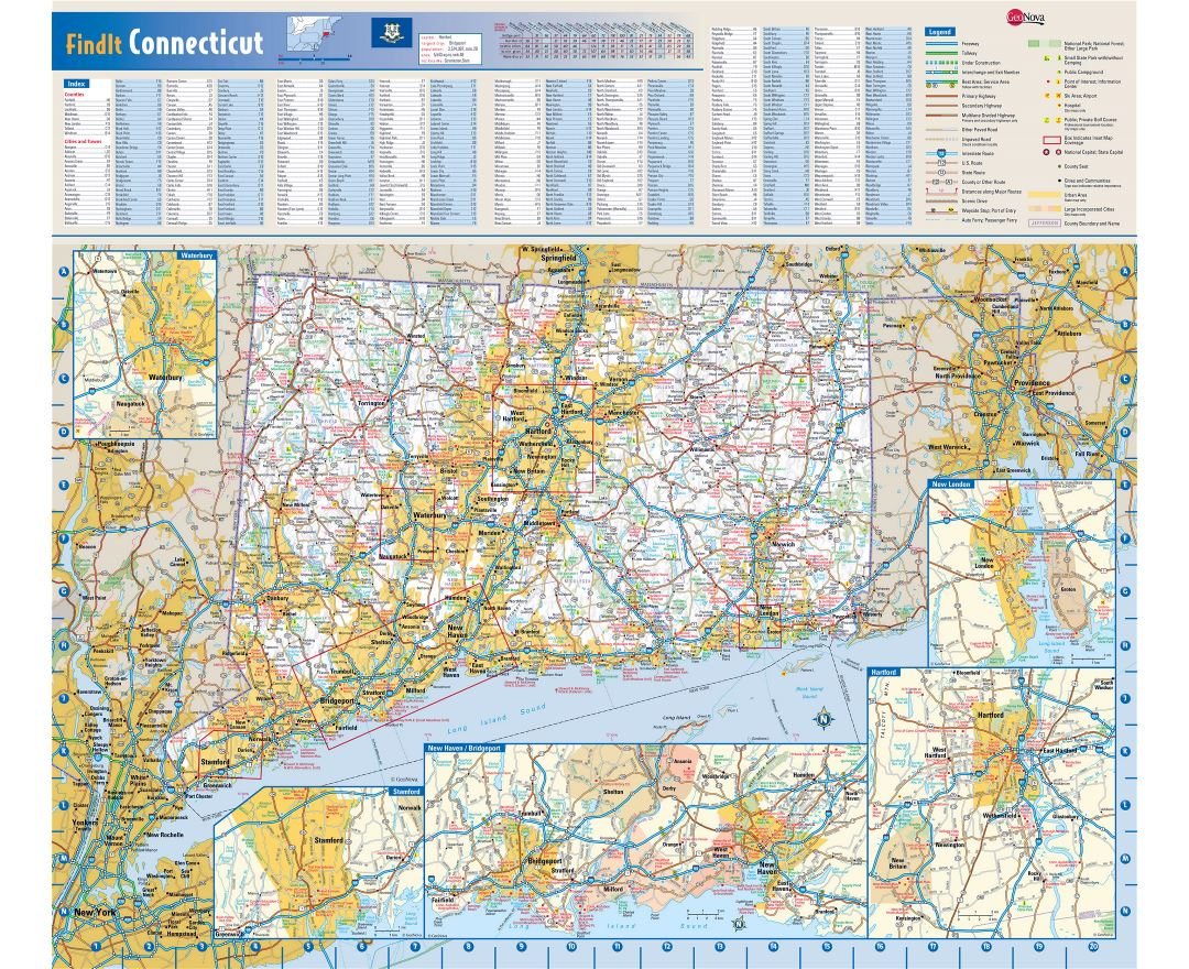 Maps of Connecticut state Collection of detailed maps of