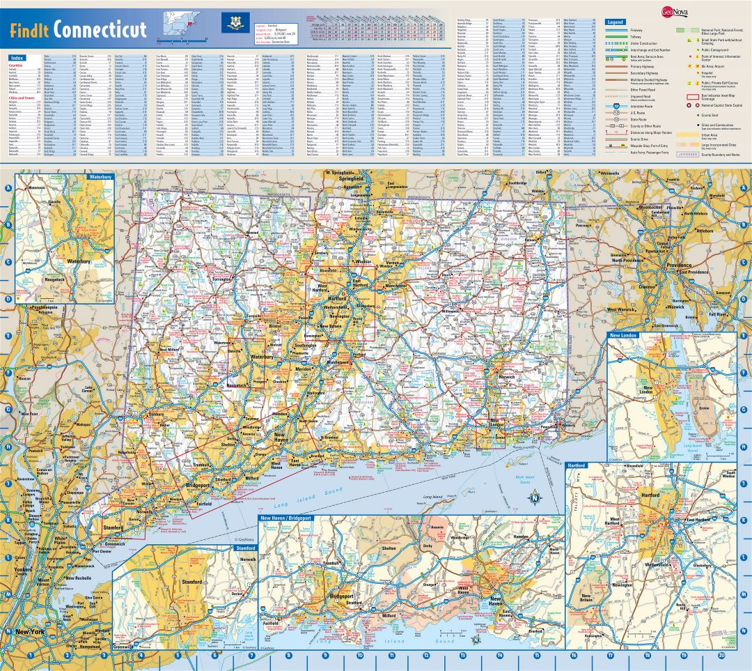 Large roads and highways map of Connecticut state with national parks, all cities, towns and villages