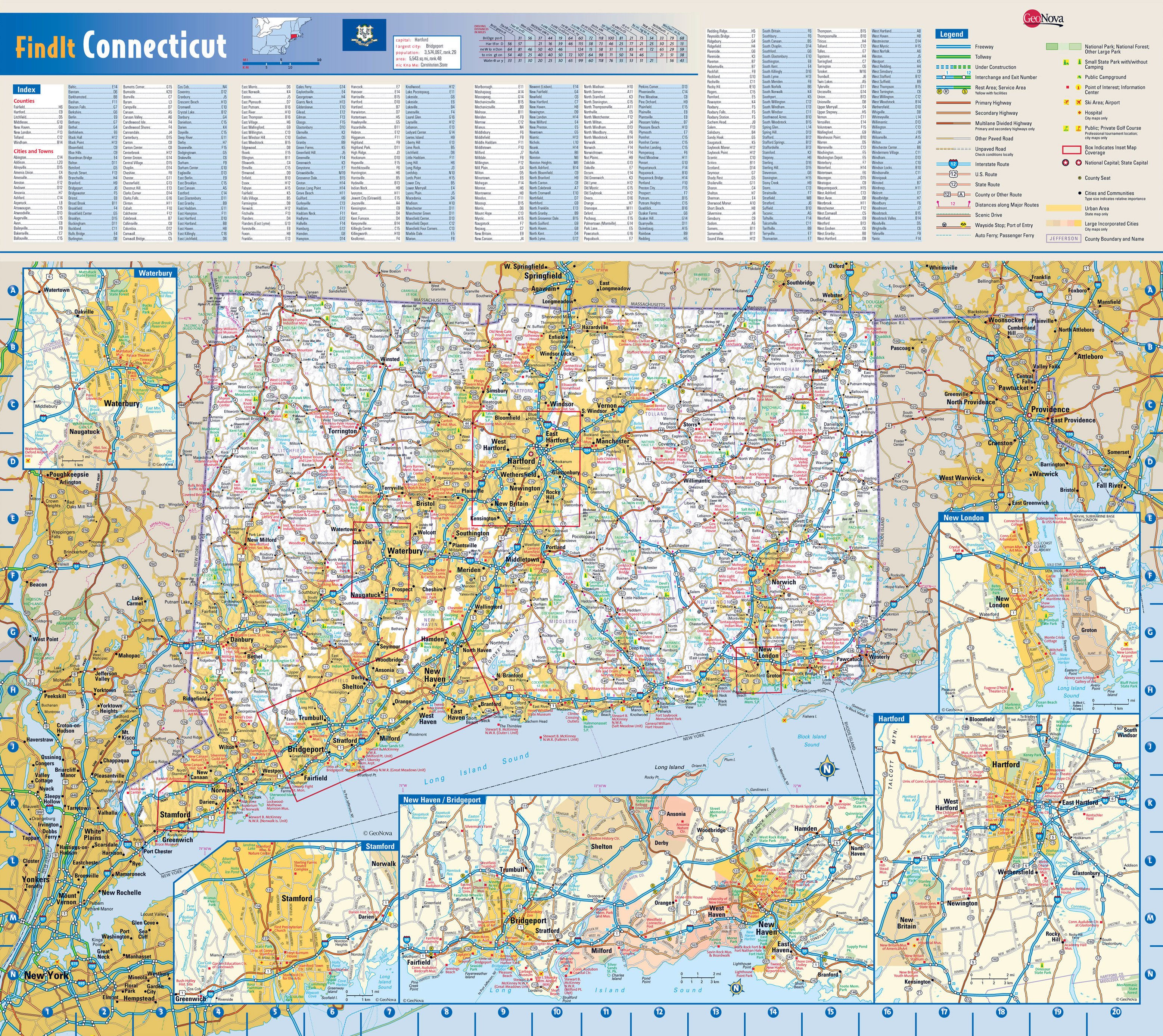 Large roads and highways map of Connecticut state with national
