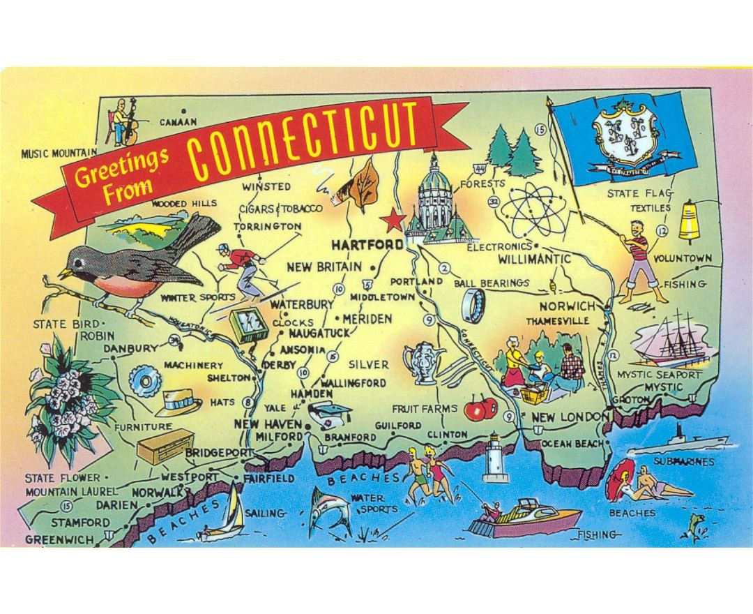 Large tourist illustrated map of Connecticut state